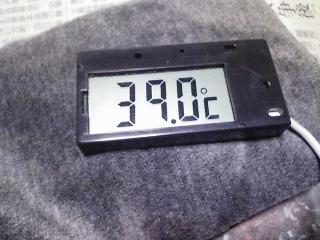 登山用品 ハイマウント 扶桑化学のハンドウォーマー(木炭カイロ) その2 実使用(温度計測)