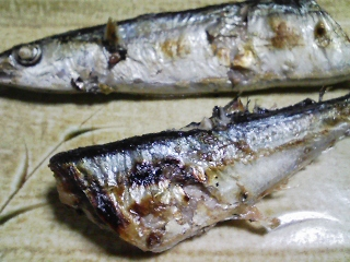 本日の晩ご飯のおかずの写真 岩手産サンマの塩焼き、神奈川産里芋の味噌汁、蒸しものなど