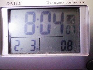 今朝(2012年2月3日)、午前8時ころの室温