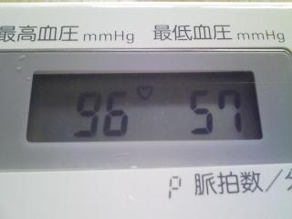 今日の低血圧 96ー57