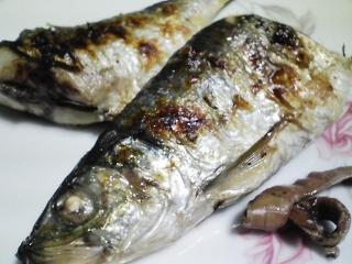 本日の晩ご飯のおかずの写真 北海道産ニシンの塩焼き、焼いたネギに鰹節かけなど