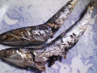 本日の朝ご飯のおかずの写真 神奈川の三浦産カタクチイワシの塩焼き、カタクチイワシ出汁の味噌汁など
