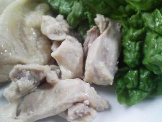 本日のお昼ご飯の写真 磯部焼き、蒸した鶏肉など