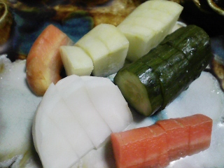 本日の晩ご飯のおかずの写真 神奈川の長井の青アジの刺身、なめろう、芽カブなど