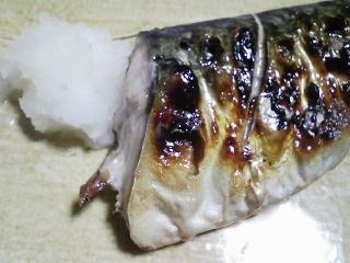 本日の晩ご飯のおかずの写真 千葉産真サバの塩焼き、アジ出汁の味噌汁など
