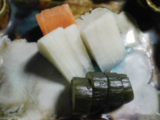 本日の晩ご飯のおかずの写真 神奈川の長井の金目鯛の刺身、塩焼き、鍋など