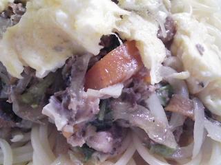 本日のお昼ご飯の写真 マルハのサバの水煮を使ったスパゲッティ