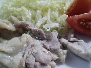 本日のお昼ご飯の写真 蒸した鶏肉など