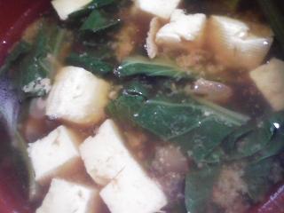 本日の朝ご飯の写真 親子丼、煮干し出汁の味噌汁など
