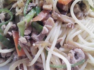 本日のお昼ご飯の写真 カツオのスパゲッティ