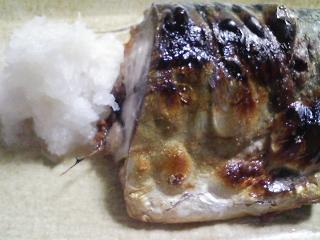 本日の晩ご飯のおかずの写真 青森産真サバの塩焼き、青アジ出汁の吸い物など