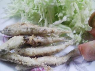 本日のお昼ご飯のおかずの写真 北海道産チカ(ワカサギ)の塩焼き、香の物など