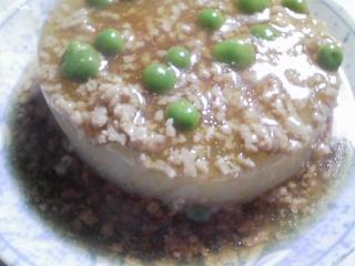 本日の晩ご飯のおかずの写真 神奈川の横須賀産メジナの刺身、三浦大根のあんかけなど