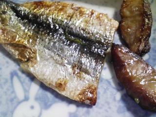 本日の朝ご飯のおかずの写真 焼いたコノシロの津酢漬け、煮干し出汁の味噌汁など